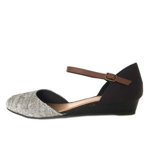Seychelles Anthro Canvas Ankle Strap Mini Wedge 10